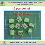 10x SCREW TERMINAL BLOCK 3 PINS Pitch 3.5 mm 300V/10A GREEN COLOR