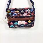 กระเป๋าสะพาย Chalita wu ใบเล็ก  สีกรม ลายรถยนต์