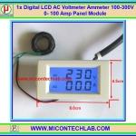 1x Digital LCD AC Voltmeter Ammeter 100-300V 0- 100 Amp Panel Module