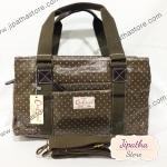 กระเป๋า Chalita wu + สายสะพาย 3 ซิป สีน้ำตาล ลายจุดเล็ก