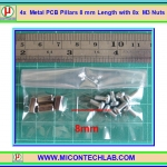 4x Metal PCB Pillars 8 mm with 8x M3 Nuts (เสารองแผ่นพีซีบีโลหะแบบเหลี่ยมพร้อมน็อตยึด)