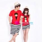 เสื้อคู่รัก ชุดคู่รัก เสื้อคู่ เสื้อยืดคู่รัก ผ้าฝ้ายสีแดง สกรีนลายการ์ตูนเจ้าบ่าว-เจ้าสาว แสนน่ารัก