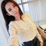 เสื้อแฟชั่นเกาหลี ผ้าลูกไม้ มีซับในด้านหน้า ผ้าลูกไม้สีขาวทั้งตัวแขนยาว เหมาะกับสาวตัวเล็กคะ