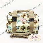 กระเป๋าทรงหมอน Chalita wu + สายสะพาย สีเหลือง ลายนกฮูก