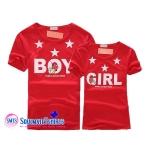 เสื้อคู่รัก ลายBOY GIRL สีแดงน่ารัก พร้อมส่ง