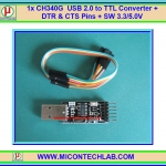 1x CH340G USB 2.0 to TTL Converter with DTR For Arduino Upload 3.3V/5V Selector SW