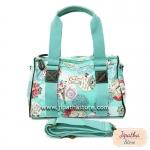 กระเป๋าทรงหมอน Chalita wu + สายสะพาย สีเขียวมิ้นท์ ลายดอกไม้