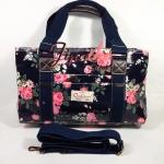 กระเป๋า Chalita wu + สายสะพาย 3 ซิปทรงยาว สีกรม ลายดอกไม้