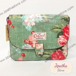 กระเป๋าสะพาย Chalita wu ทรงกล่อง สีเขียว ลายดอกไม้