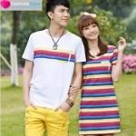 เสื้อผ้าแฟชั่น ชุดคู่รักแฟชั่นสไตล์เกาหลี ผู้ชายเป็นเสื้อยืดคอกลม+ผู้หญิงเป็นเดรสแขนสั้น สีสันสดใส