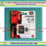 1x Micro SD Memory Card 8 GB + Micro SD Socket Adapter Kingston Warranty by Synnex