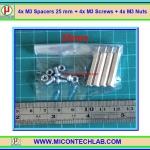4x M3 Spacers 25 mm + 4x M3 Screws + 4x M3 Nuts (เสารองพีซีบีแบบปลายผู้เมีย 25 มม)