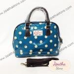 กระเป๋า Chalita wu + สายสะพาย โค้ง สีฟ้า ลายจุด