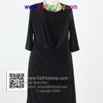 f037-45-50-ชุดเดรสสีดำไซส์ใหญ่ ผ้าเกาหลีสีดำสนิท ดีไซน์คอถ่วงด้านหน้า รอบอก 38 - 46 นิ้ว