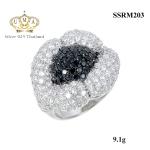 แหวนเพชรcz ประดับเพชร CZ แหวนทรงดอกไม้ฝังเพชร2สีสลับขาว-ดำ เต็มหน้าแหวน ใส่แล้วเต็มนิ้ว สวยงามสะดุดตา ล้ำดูดีทุกมิติ