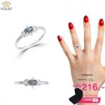 แหวนเพชรcz ประดับเพชร CZ แหวนพลอยรูปทรงไข่สีรุ้ง เล่นดีไซน์บ่าแหวนประดับเพชรกลมขาว แสงแวววาวสะดุดตาประทับใจแก่ผู้พบเห็น