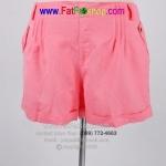 fa006-38-50- กางเกงขาสั้นคนอ้วน ผ้าลินินสีชมพู ซิปหลอก กระดุมหลอก กระเป๋าคู่หน้า น่ารักๆใส่สบายๆค่ะ รอบเอว 38 - 50 นิ้ว