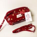 กระเป๋าคล้องมือ + สายสะพาย Chalita wu สีเลือดหมู ลายจุด