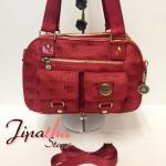 กระเป๋าถือ+สะพาย ผ้าทอ Lingky สีแดง