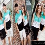 พร้อมส่ง ชุดคู่รักน่ารัก เกาหลีใหม่เนื้อผ้าฝ้ายผ้ายืดลายทางสีเขียวอมผ้า (CP-052) ญ.M/ช.XL