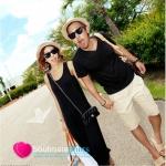 ชุดคู่รัก เสื้อคู่รักเกาหลี เสื้อผ้าแฟชั่น ชายเสื้อยืดคอวีสีดำ หญิง แมกซี่เดรสสีดำ ด้านหลังแอบเซ๊กซี่