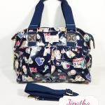 กระเป๋า Chalita wu + สายสะพาย สีกรม ลายลูกโลก