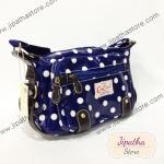 กระเป๋าสะพา Chalita wu คาดหนัง สีน้ำเงิน ลายจุด