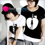 เสื้อยืดคู่รัก ชุดคู่รัก เสื้อคู่ เสื้อคู่รักเกาหลี เสื้อยืดคู่รักผ้าฝ้าย สีขาว-ดำ ลายการ์ตูนแนวๆ