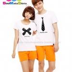เสื้อเสื้อคู่รัก ชุดคู่รัก เสื้อคู่ เสื้อคู่รักเกาหลี เสื้อยืดคู่รักพร้อมส่ง เสื้อคู่รักสวยๆ เสื้อยืดคู่รัก แขนสั้นผ้าฝ้ายแนวๆ ลายการ์ตูนเนคไท และโบว์