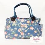 กระเป๋าถือ สะพายไหล่ Chalita wu สีฟ้า ลายดอกไม้
