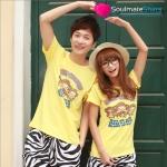 เสื้อคู่รัก ชุดคู่รัก เสื้อคู่  เสื้อยืดคู่รักผ้าฝ้าย สีเหลือง ลายลิง 3 ตัว