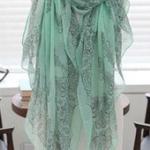 ผ้าพันคอผ้าฝ้าย สีเขียวอมฟ้า