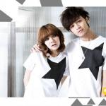 เสื้อคู่รัก ชุดคู่รัก เสื้อคู่ เสื้อยืดคู่รักผ้าฝ้าย สีขาว;, สกรีนลายดาว 5 แฉก สีดำ