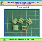 5x SCREW TERMINAL BLOCK 3 PINS Pitch 3.5 mm 300V/10A GREEN COLOR