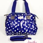 กระเป๋า Chalita wu + สายสะพาย สีน้ำเงิน ลายจุด