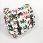 กระเป๋าสะพาย Chalita wu สองเข็มขัด สีขาว ลายรถจักรยาน