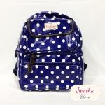 กระเป๋าเป้ Chalita wu สีน้ำเงิน ลายจุดใหญ่