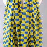 ผ้าพันคอชีฟองลายตารางสีน้ำเงินเหลือง