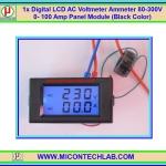 1x Digital LCD AC Voltmeter Ammeter 80-300V 0- 100 Amp Panel Module (Black Color)
