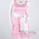 ao293 - ผ้าซาตินสีชมพู ช่วงแต่งผ้าลูกไม้ระบายเป็นชั้นๆ ซับในทั้งตัว สวยน่ารักสุดๆเลยค่ะ