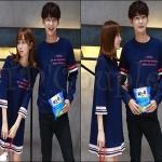 PRE-ORDER ชุดคู่รักเกาหลีใหม่ ชุดเซตผ้าฝ้ายยืดหลวมออกแบบน่ารักๆ ญ.เดรสสั้น/ช.เสื้อยืดแขนยาว