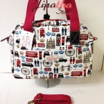 กระเป๋าถือ+สะพาย Chalita wu สีขาว ลายลอนดอน