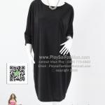 bw274 - ชุดดำ ชุดเดรสดำ (สาวอวบใส่ได้ค่ะ)ผ้าเกาหลี สีดำสนิท ทรงปีกค้างคาวนิดๆ แขนสามส่วน สวยเรียบใส่สบายๆค่ะ