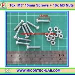 10x สกรูหัวกลม M3 ยาว 15 มม. +น็อตตัวเมีย (M3* 15mm Screws)(M)