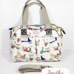 กระเป๋า Chalita wu + สายสะพาย สีขาว ลายเวสป้า