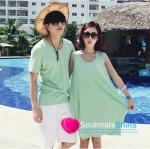 เสื้อคู่ เสื้อคู่รัก เดรสคู่รัก ชุดคู่รักเกาหลี ชาย เสื้อคอกลมผ้าเนื้อนิ่ม สีเขียว หญิง เดรสแขนกุดสีเขียว ผลิตจากผ้าฝ้ายเนื้อนิ่มสวมใส่สบาย
