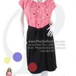 hd1444 - ชุดเดรสทำงานผ้าเกรด AAAA ตัวเสื้อสีชมพู พิมพ์ลายหัวใจ กระโปรงสีดำ ผูกแต่งโบว์ช่วงเอว ซิบซ่อนด้านข้าง ซับในช่วงกระโปรง สวยหวานๆน่ารักๆค่ะ