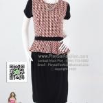 b2615 - ชุดทำงานสาวอวบนิดๆ ผ้าเกาหลีทรงเข้ารูปแต่งระบายช่วงเอว ใส่ขึ้นมาทรงสวยสุดๆเลยค่ะ