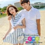 เสื้อคู่ เสื้อคู่รัก ชุดพรีเวดดิ้ง ชุดคู่รัก เสื้อคู่รักเกาหลี เสื้อผ้าแฟชั่น ผู้ชายเป็นเสื้อโปโล + กางเกง ผู้หญิงเป็นเดรสแขนกุดลายขวาง ฟ้า-ขาว
