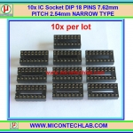 10x IC Socket DIP 16 PINS 7.62mm PITCH 2.54mm NARROW TYPE